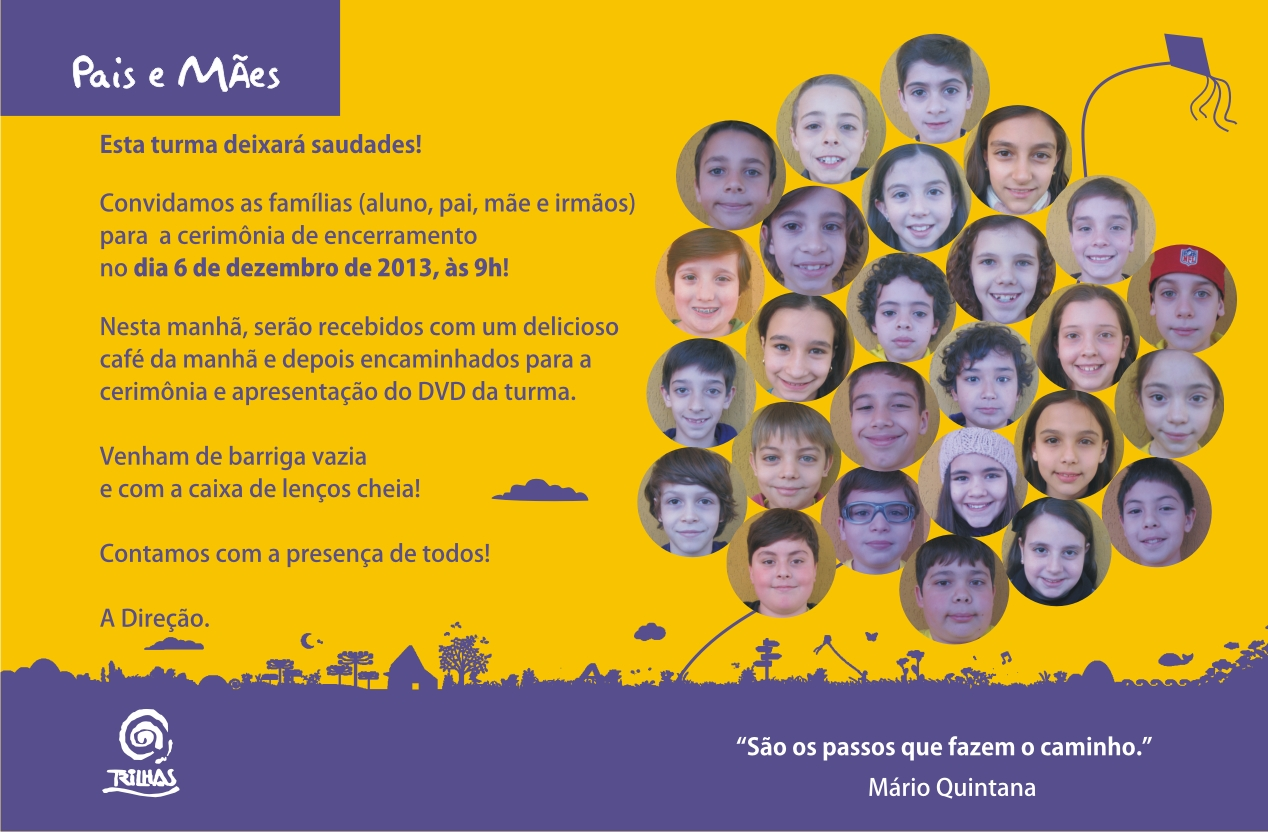 trilhas encerrramento 5º ano 2013 convite virtual